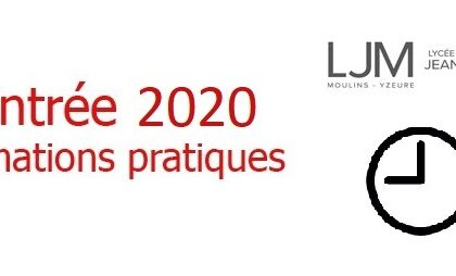 Rentrée 2020 - Informations utiles